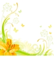 Floral summer background with yellow lily flower vector image