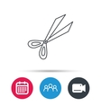 Gardening scissors icon Secateurs tool sign vector image