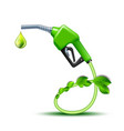 green fuel handle pump nozzle and hose with green vector image vector image