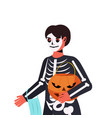 guy in mask wearing skeleton costume halloween vector image vector image