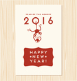 happy new year greeting card with cute monkey vector image vector image