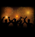 joyful people watching fireworks vector image