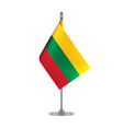 lithuanian flag hanging on the metallic pole vector image vector image