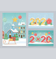 new year 2020 greeting cards town houses snow vector image vector image