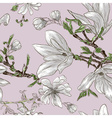 Seamless Floral Pattern with Magnolias vector image vector image