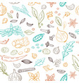 seamless hand drawn pattern with different vector image vector image