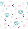 seamless repeat pattern with eyes and geometric vector image vector image