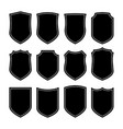 shield icons set different black shield shapes on vector image