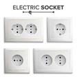 socket isolated set white double grounded vector image vector image