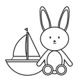 stuffed bunny and sailboat toy entertainment vector image