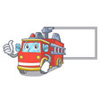 thumbs up with board fire truck character cartoon vector image vector image