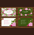 two design of businesscard with pink roses vector image vector image