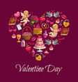 valentine day love hearts cupids and flowers vector image
