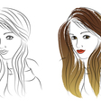 with colored girl and contour girl vector image