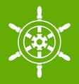 wheel of ship icon green vector image