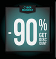90 percent off holiday discount cyber monday vector image