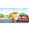 A fireman holding a hose with a fire truck at the vector image vector image