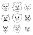 Adorable Cartoon Cats Faces vector image vector image