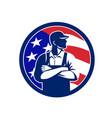 american organic farmer usa flag circle retro vector image vector image