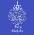 ball with bow and holiday pictures with text merry vector image vector image