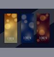 beautiful bokeh banners set in three colors vector image