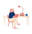 brainstorm process hard work businesswoman sit at vector image