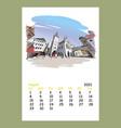 calendar sheet august month 2021 year munich vector image