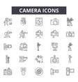 camera line icons signs set outline vector image vector image