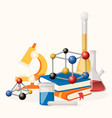 chemistry lesson supplies banner vector image