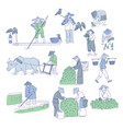 chinese farmers and fishermen in traditional vector image vector image