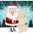 christmas landscape santa claus with list gift vector image