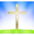 Cross on meadow vector image