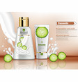 cucumber cosmetics bottle realistic vector image
