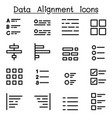data alignment icon set vector image vector image