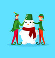 elves christmas characters making funny snowman vector image
