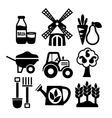 Farming harvesting and agriculture icons set vector image vector image