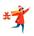 flat girl kid with bear toy in santa hat vector image