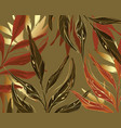 floral palm and gold foil seamless pattern rust vector image