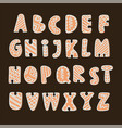 gingerbread alphabet merry christmas vector image