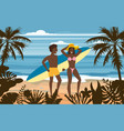 happy couple on summer vacation beach wife and vector image