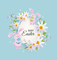 happy easter greeting card with bunnies flowers vector image vector image