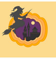 helloween paper cut with haunted and scary castle vector image vector image