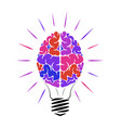 incandescent lamp in form a person brain vector image vector image