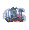 industrial smoke clouds on city landscape vector image vector image