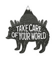 inspiration art with bear silhouette and mountains vector image