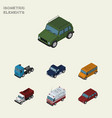 isometric transport set of truck armored suv and vector image