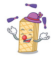 juggling waffle mascot cartoon style vector image