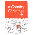 merry country christmas card with sheeps on vector image vector image