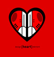 modern red sneakers on heart vector image vector image