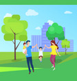 mom and dad boy girl spend time together outdoors vector image vector image